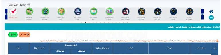 فرم اطلاعات حساب های بانکی مربوط به فعالیت شخص حقوقی